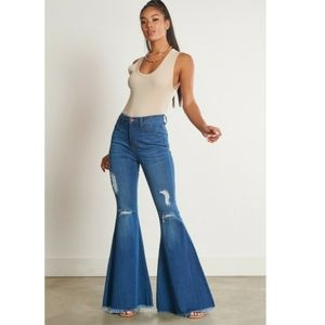 High waisted flare distressed jeans